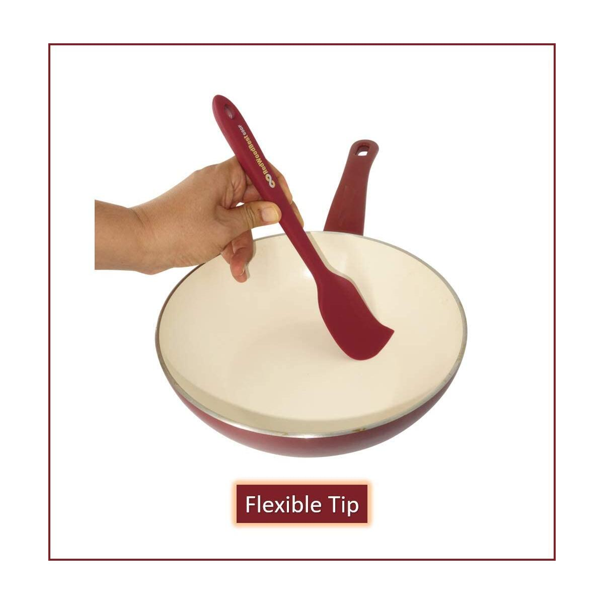 RedWoodBest Premium 600F Heat Resistant Silicone Spatula 2 Set Created for Cooking, Baking and Mixing, One Piece Design, Non-Stick, Strong Stainless Steel Core (Red Dahlia)