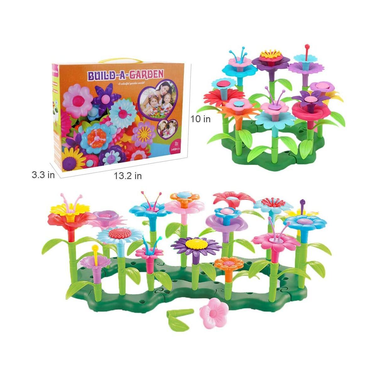 WISHTIME Flower Garden Building Toy Set - 148 Pcs Build a Bouquet Floral Arrangement Playset Pretend Gardening Blocks Educational Creative Craft Toys for 3, 4, 5, 6 7 8 Year Old Toddlers Kids Girls