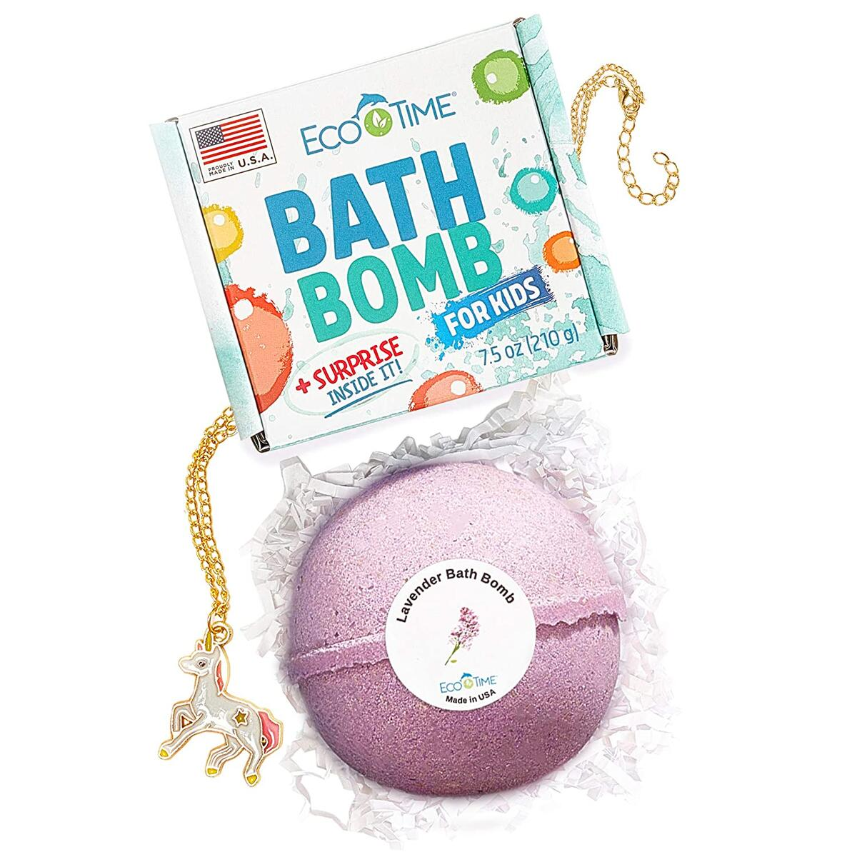 HANDMADE in USA - 7.5 oz Extra Large Bath Bomb - Natural and Organic - Gift Idea for Women Teens Girlfriend Kids – Bubble Bombs Lavender