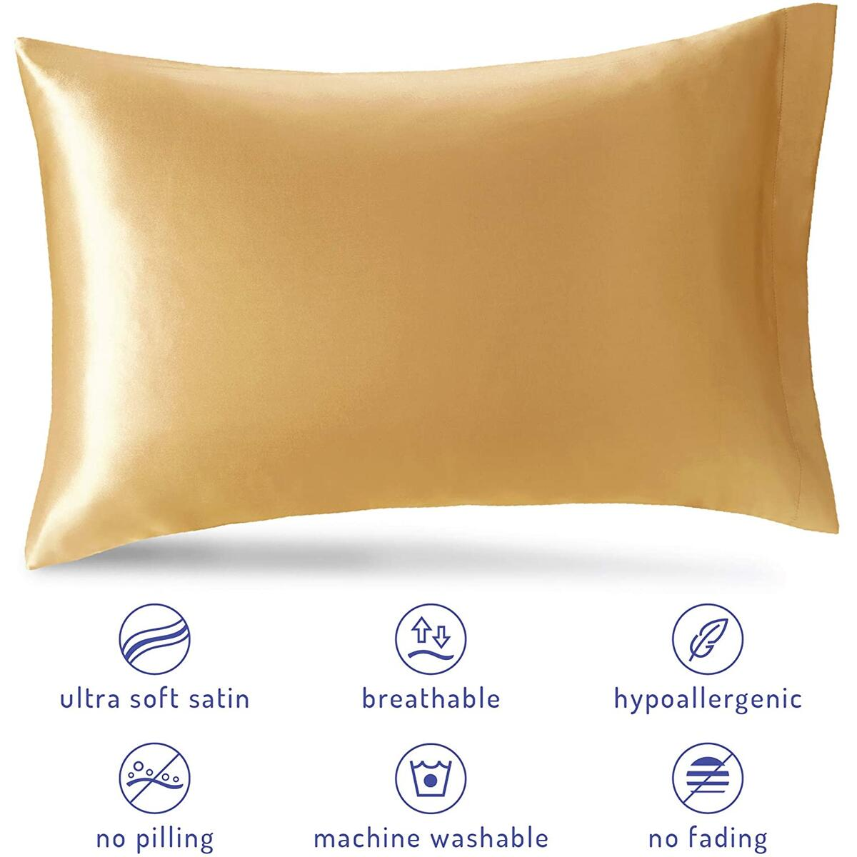 Satin Pillowcase King for Hair and Skin | King Size Pillows Cases Set of 2, Gold, 20 x 40 Inch | Cool Pillow Case Reduce Skin Irritation & Frizzy Hair | Retains Color in Easy Machine Wash & Dry