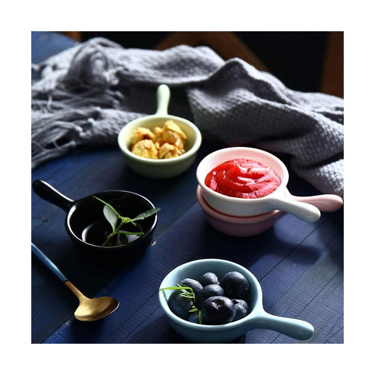 Small Bowls Soy Sauce Dish Side Dipping Condiment Server Asian Pinch Japanese Mini Cup 10Pcs Ceramic Sushi Snack Appetizer Plate Set Colors Salsa Tray with Handle, Dishwasher and Microwave Safe