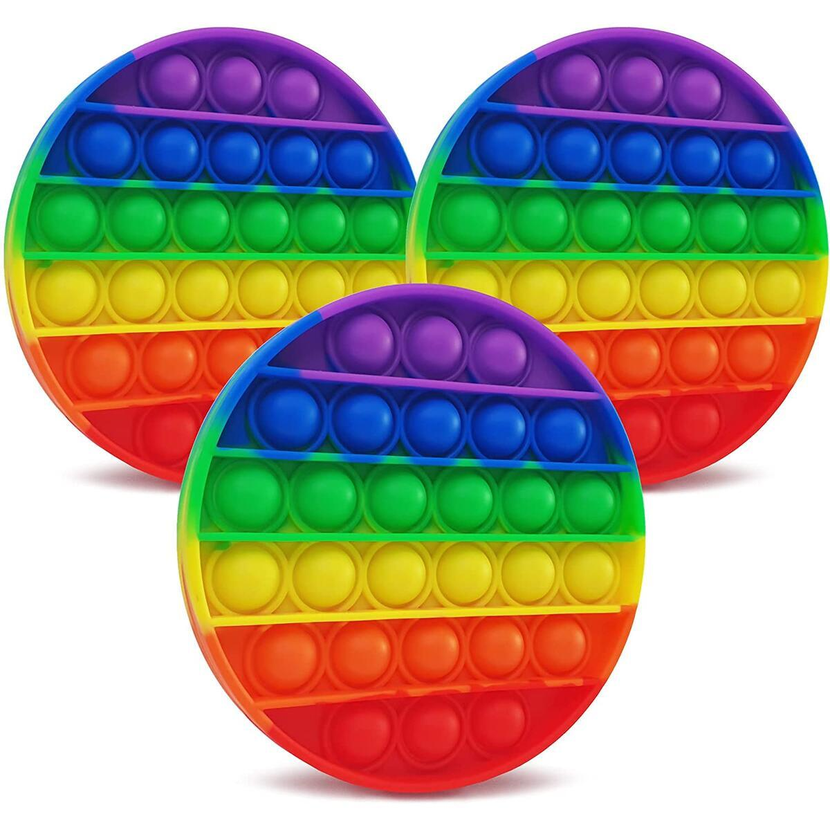 3pk Push pop bubble fidget toy, sensory stress relief and anti-anxiety tool, autism and ADHD stress reliever for children and adults (Rainbow 3-pack)