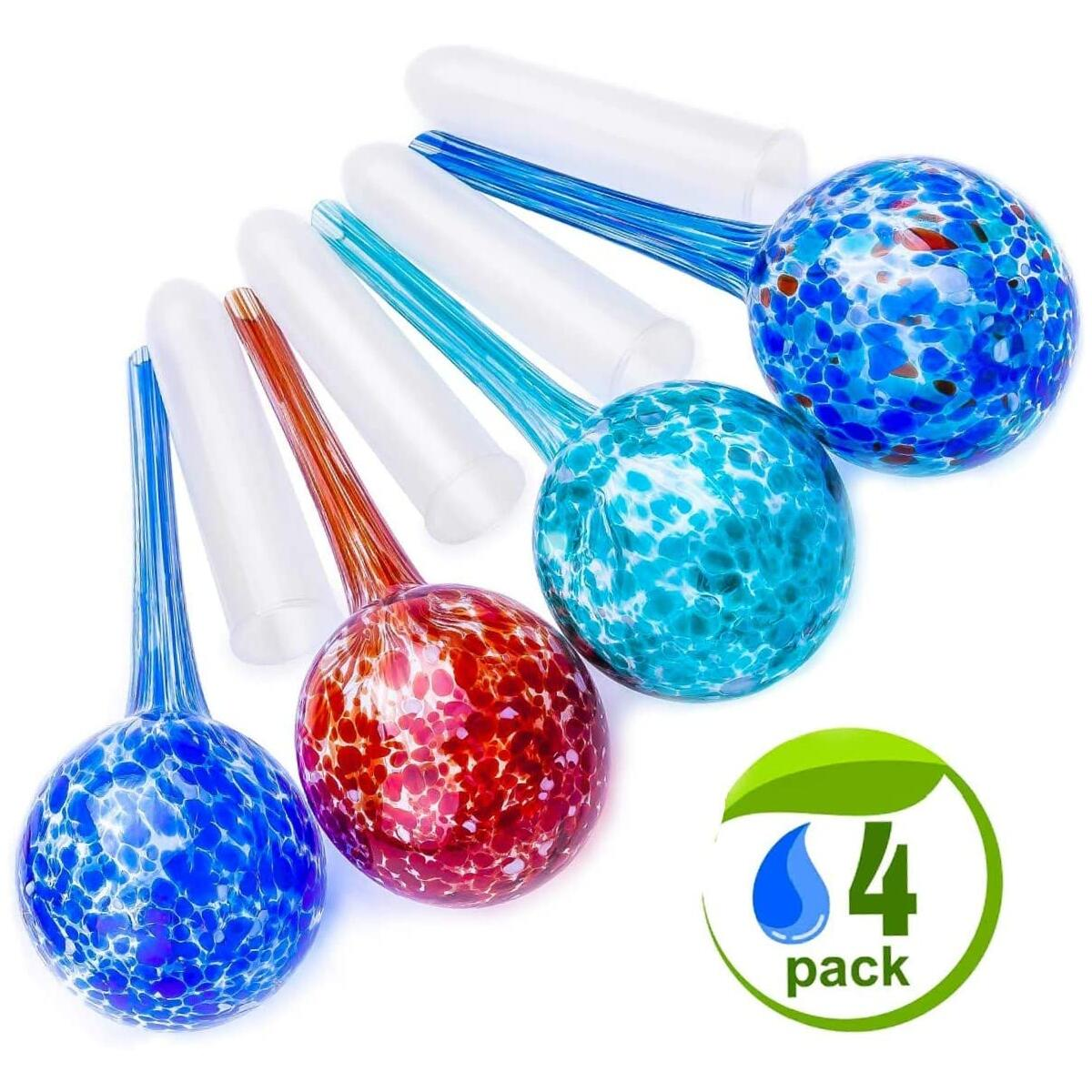 Medium Size Self Watering Spikes for Plants. (4 Pack) Improved Adjustable Indoor Outdoor Decorative Garden Irrigation System Aqua Glass Globes Bulbs Stakes + Plastic Tubes for No More Mess.