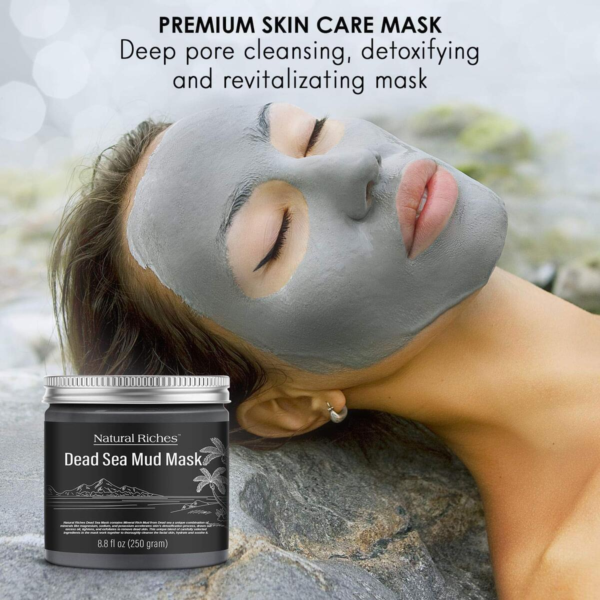 Dead Sea Mud Mask for Face and Skin Care, Best Facial Cleansing Clay for Oily Skin Blackhead, Whitehead, Acne and Pores for men & women