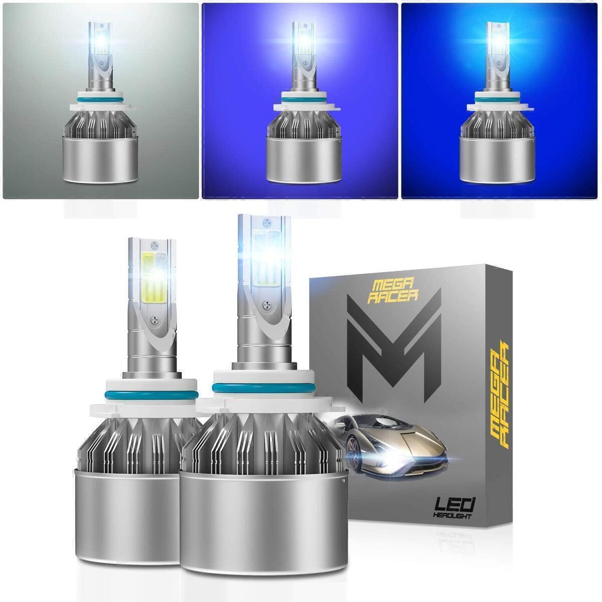 Mega Racer H10/HB3/9005 LED Headlight Bulbs, 3 Colors Changing Lights (6000K Diamond White, 8000K Ice Blue, 10000K Dark Blue) for High Beam/Low Beam/Fog Lights, 50W 8000 Lumens COB IP68, Pack of 2