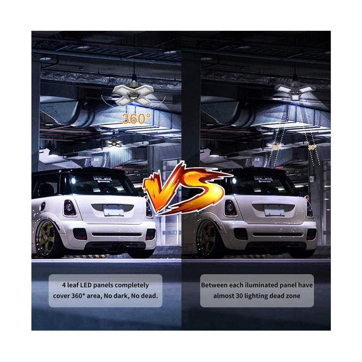 LED Garage Lights 150W, 4 Panels 15000lm Deformable Garage Lights Ceiling LED, Shop Light 6500K Daylight Quabright Glow Adjustable Folding Garage Lighting Bulb E26/E27 for Garage,Workshop,Warehouse(Silver)