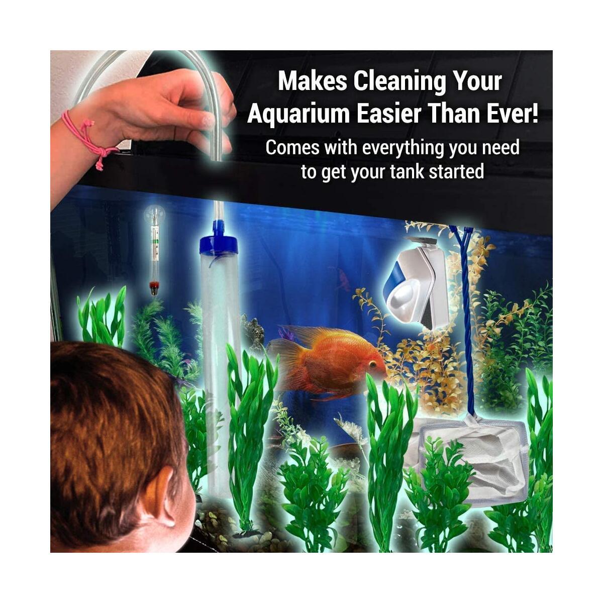 Friendly Fish Co. 12-in-1 Fish Tank/Aquarium Cleaner Starter Kit w/Siphon, Fish Net, Magnet Brush, Algae Scraper, Fish Tank Thermometer & Aquarium Plants - BPA Free Aquarium Cleaning Tools