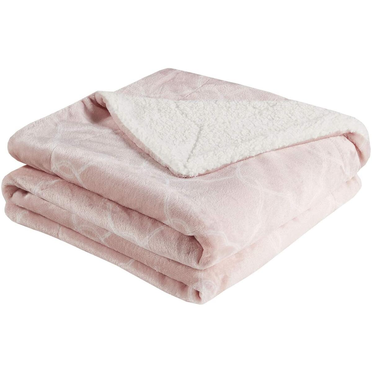 Soft Cozy Fleece Sherpa Pink Throw Blanket, Fuzzy Plush Flannel Blanket for Sofa, Couch, Bed, Travel - 50x60 Inches, Pink Ogee