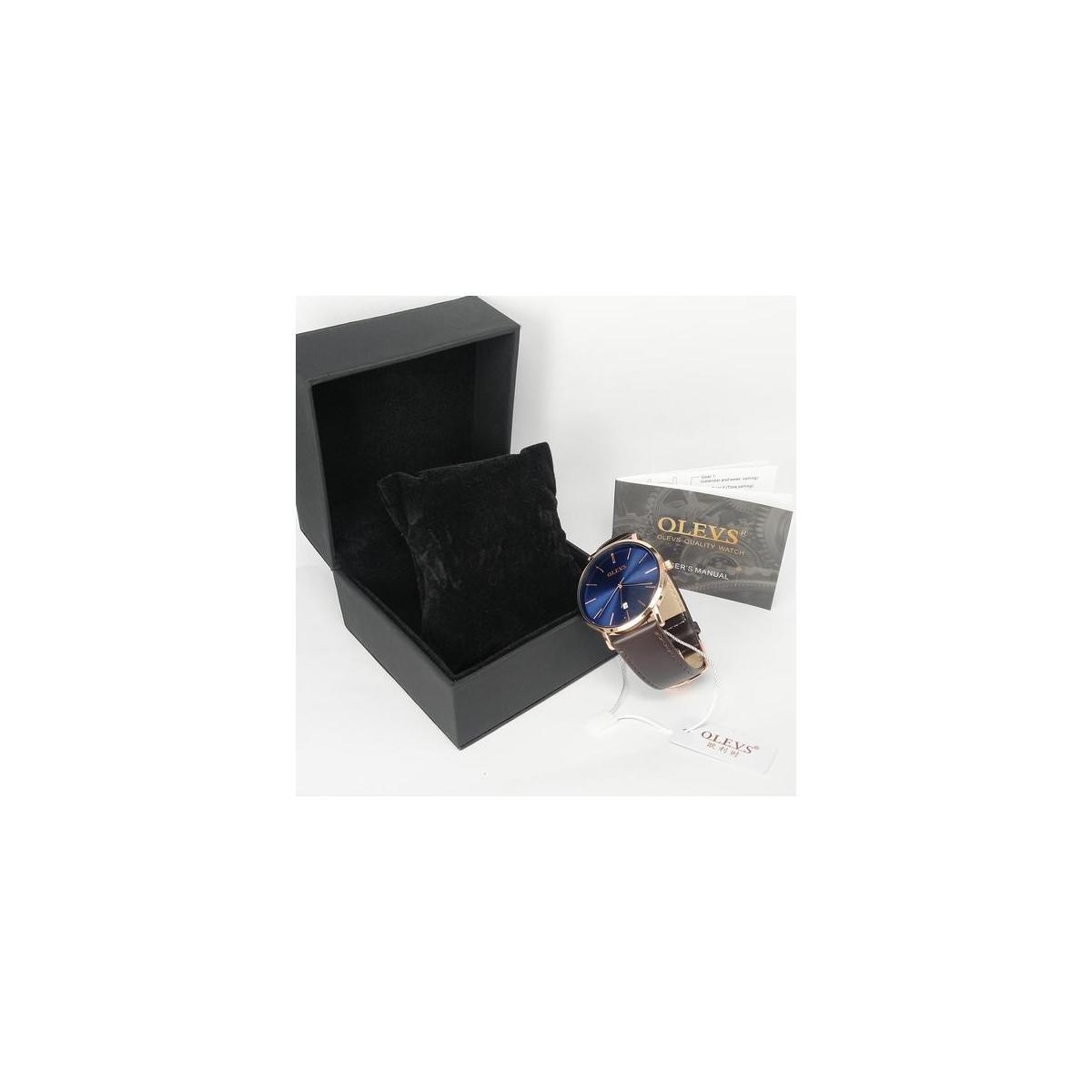 Fashion men's watch(Brown Band - Rose Case - Blue Dial)