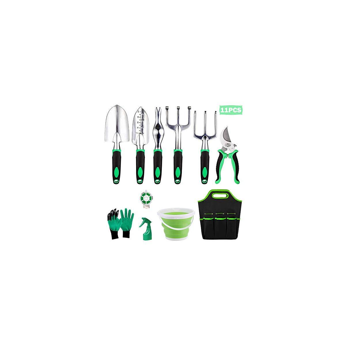 Garden Tool Set, Heavy Duty Gardening Tools Kits 11 Pieces, with Garden Gloves & Garden Handbag and More, Gardening Gifts for Woman