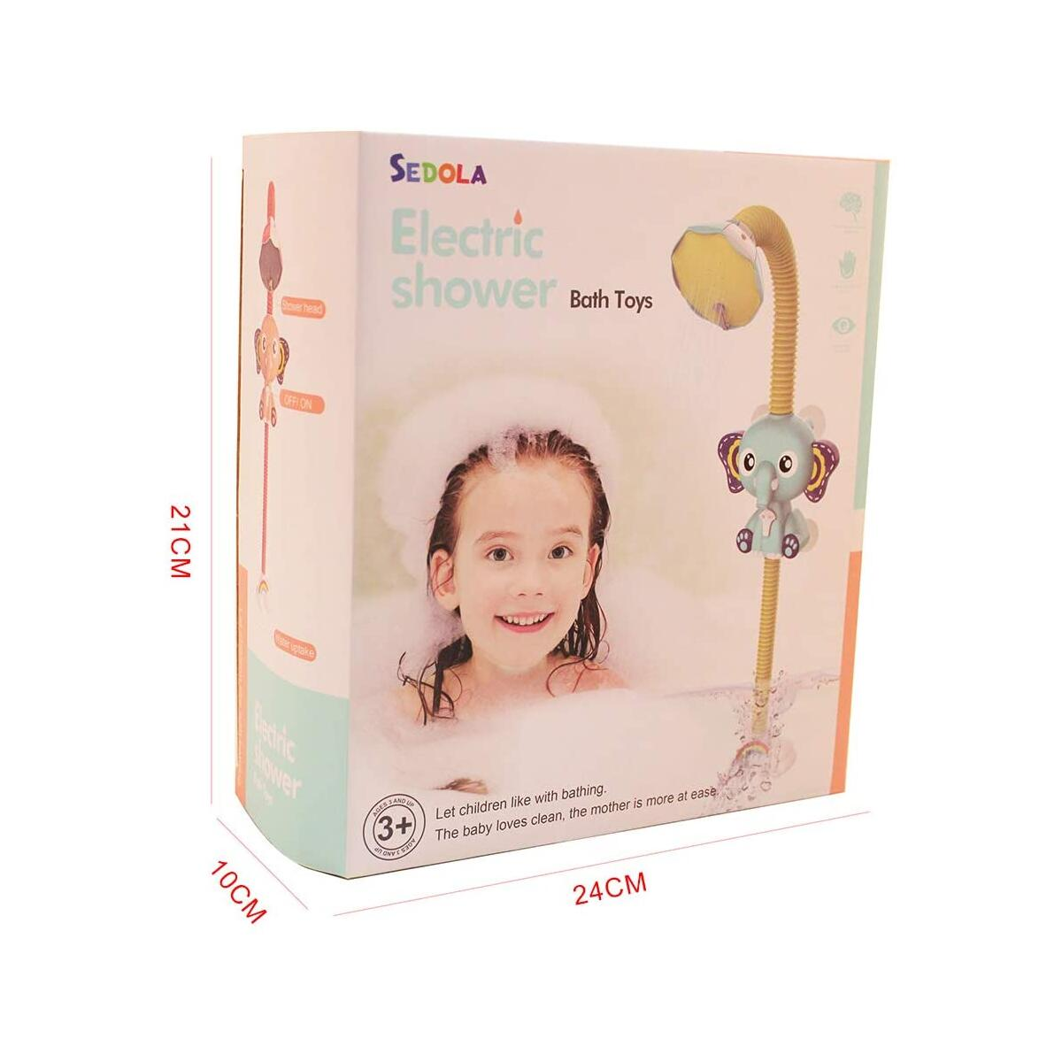 Baby Bath Toy Bath Shower Head Bathroom Toy with Four Suction Cups for Baby Toddler Infant Shower Elephant