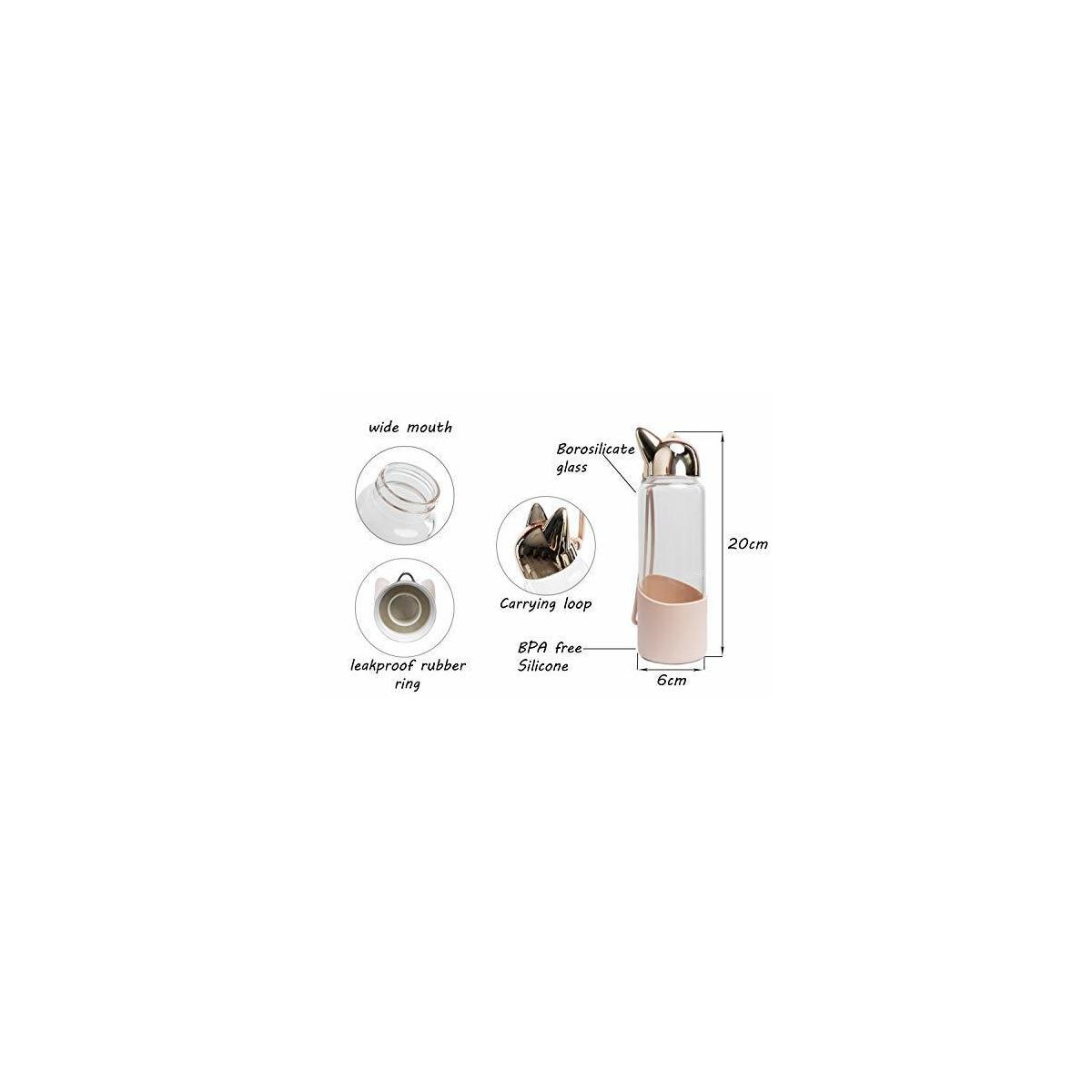 Nureen Glass Water Bottle Wide Mouth Design with Handle Peach Color & Bonus Recipe e-Book
