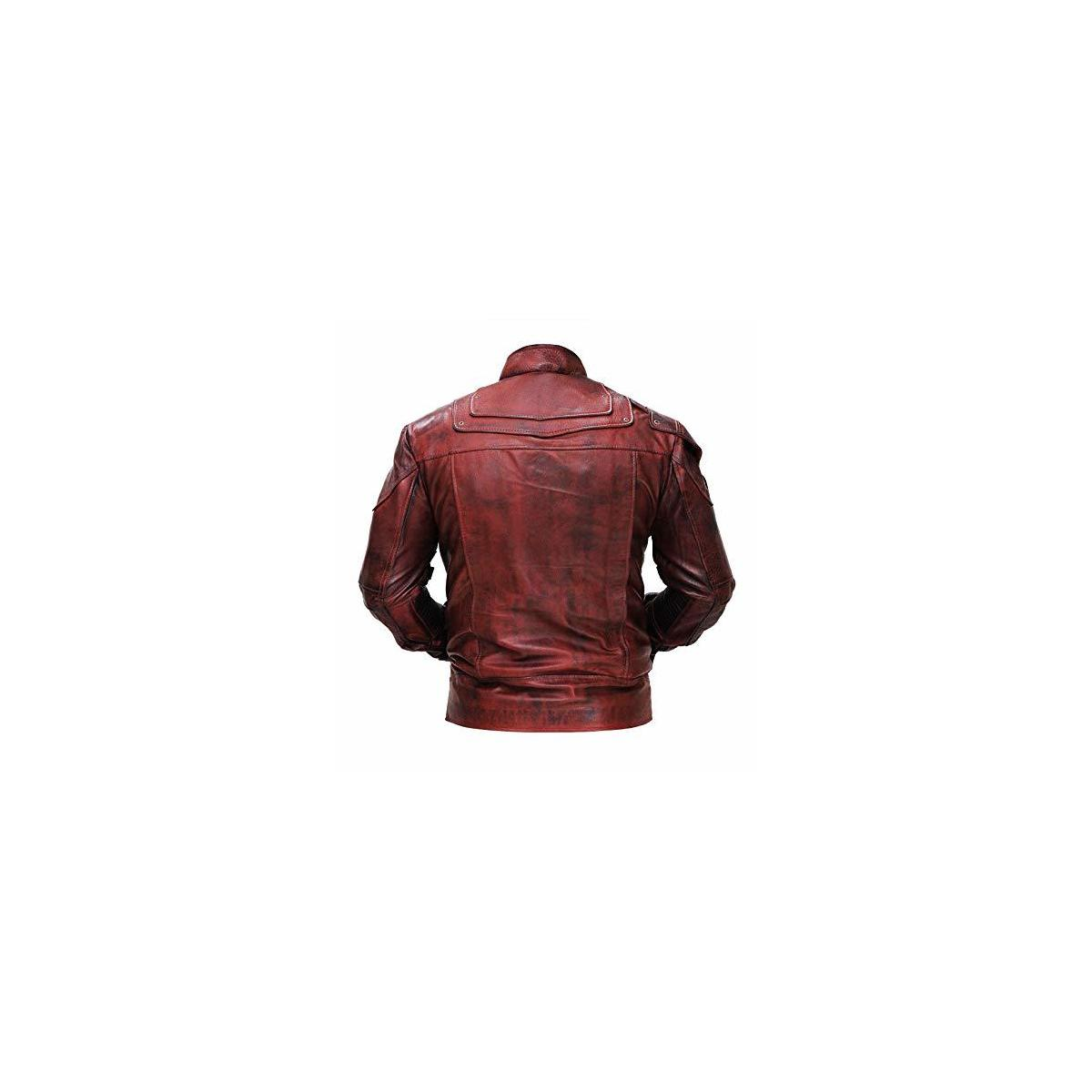 STOREJEES Slim Fit Maroon Distressed Style Synthetic Leather Jacket Biker Costumes for Men
