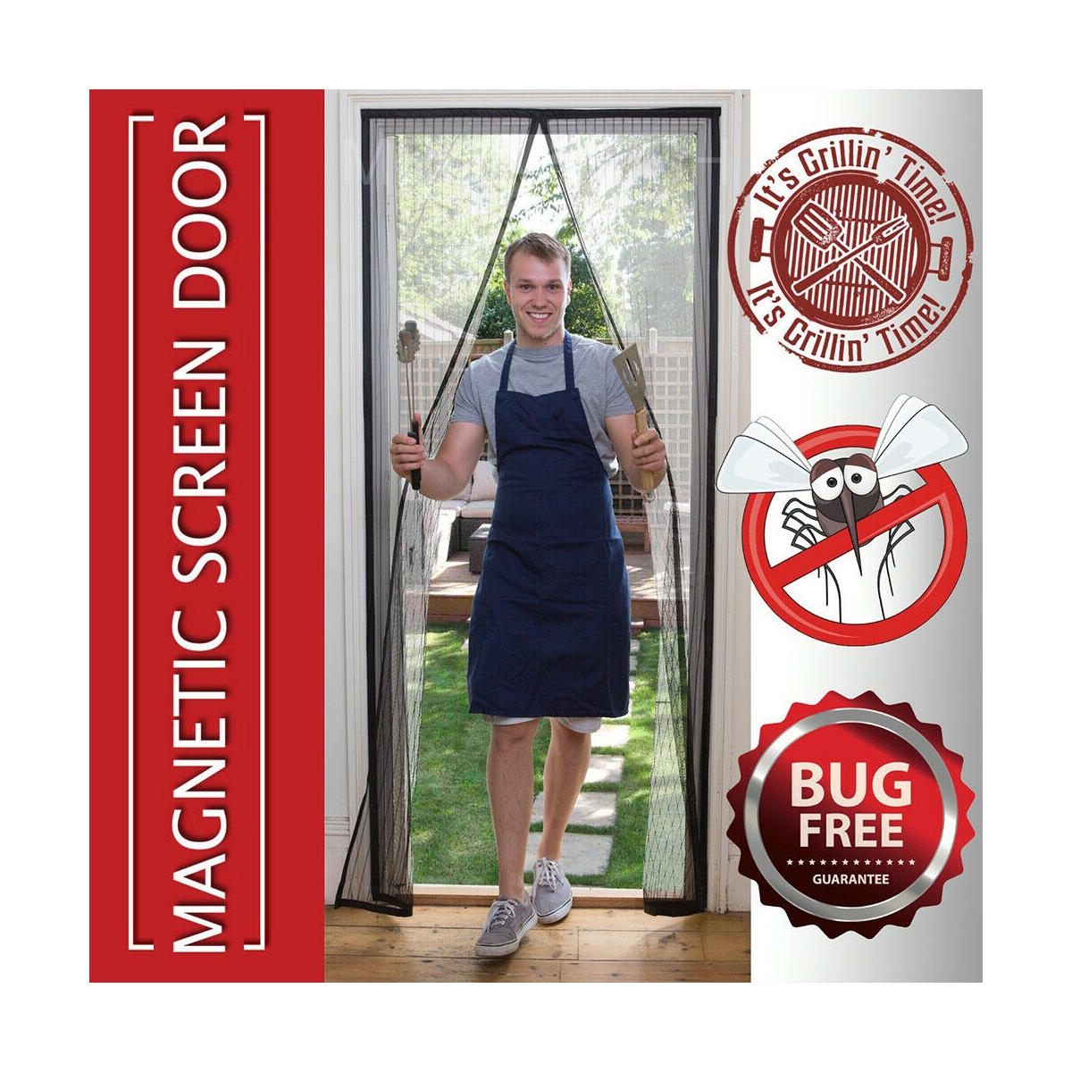 Hands Free Auto Mesh Door Magnets Screen Anti-bug Fly Mosquito Bug Net