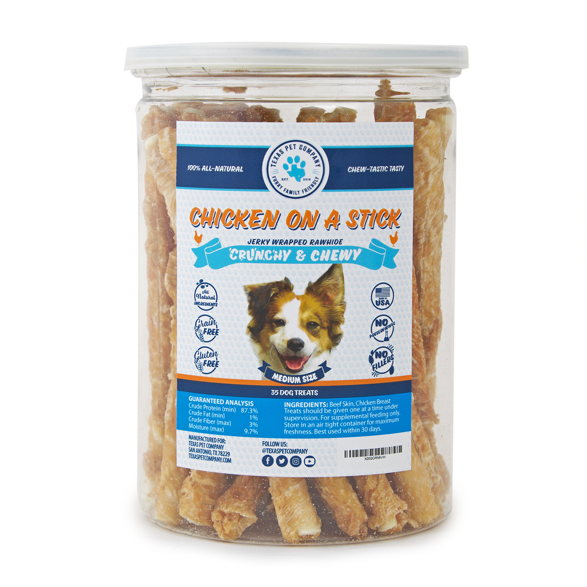 Texas Pet Company Jerky On A Stick Jerky Wrapped Rawhide Sticks - All-Natural - for Small to Medium Dogs - Made in The USA - 35ct resealable jar
