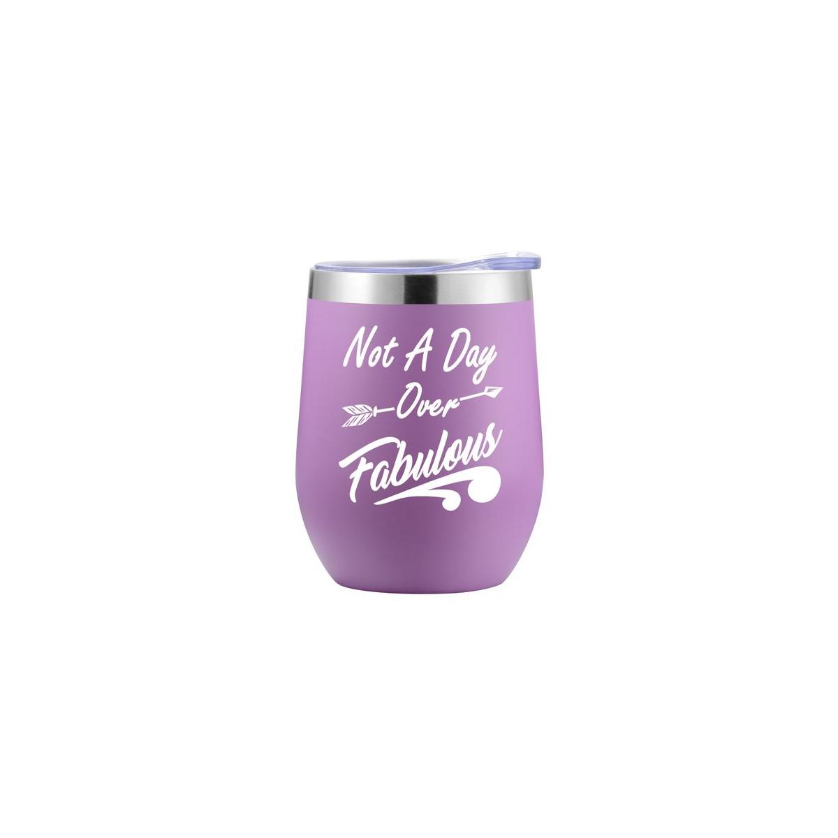 Not A Day Over Fabulous Wine Tumbler - Purple