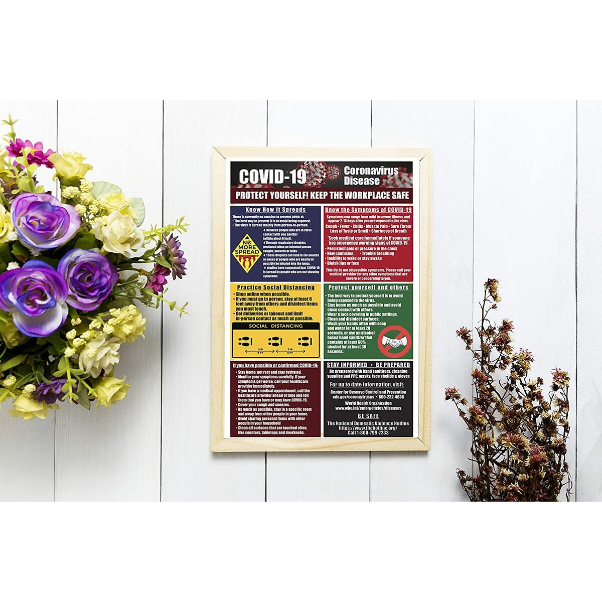 Social Distance Sign - 5 Pack - Keep Workplace Safe (Laminated, 11