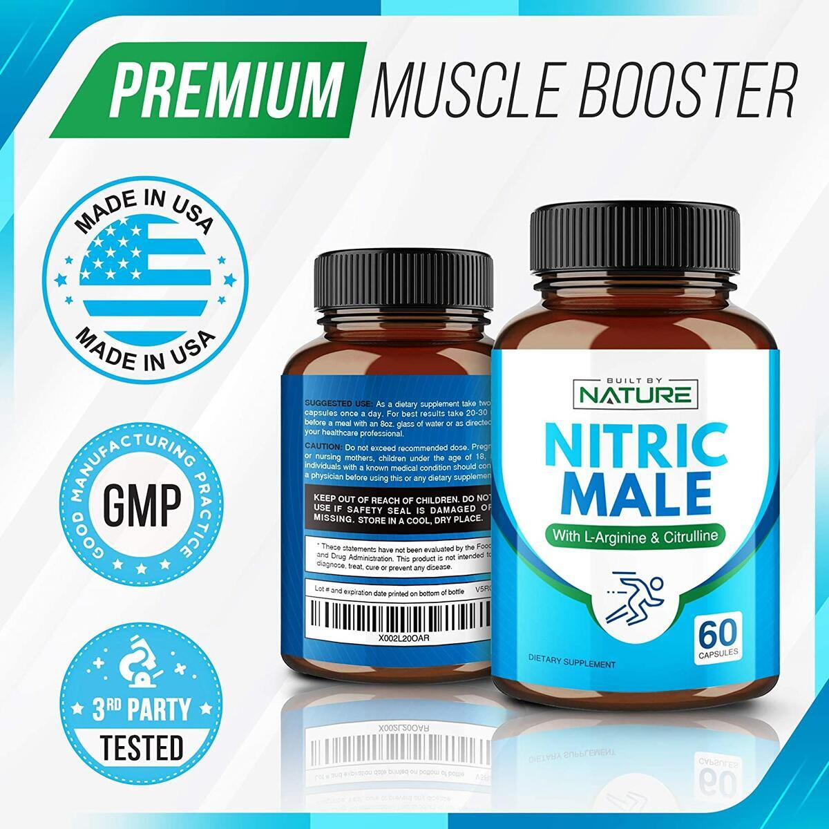 Nitric Male - Nitric Oxide Booster Supplement with L Arginine and L Citrulline for Blood Flow Support - 60 Capsules (30 Day Supply)