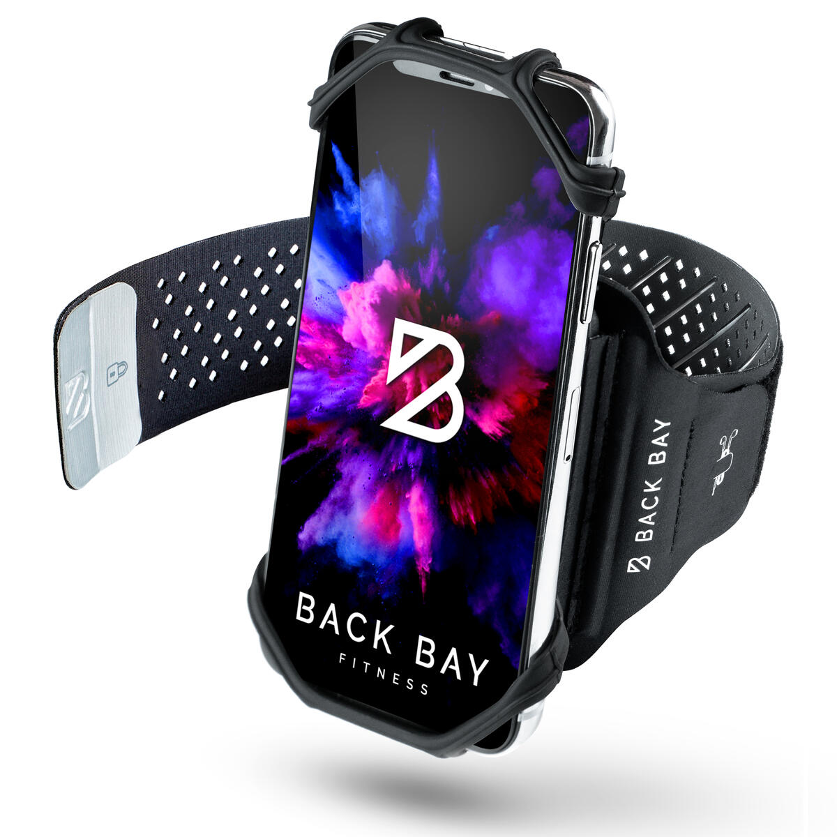 No-Slip Running Armband [Fits Any Phone] 360 Rotation, Adjustable, Holds Keys and Credit Cards