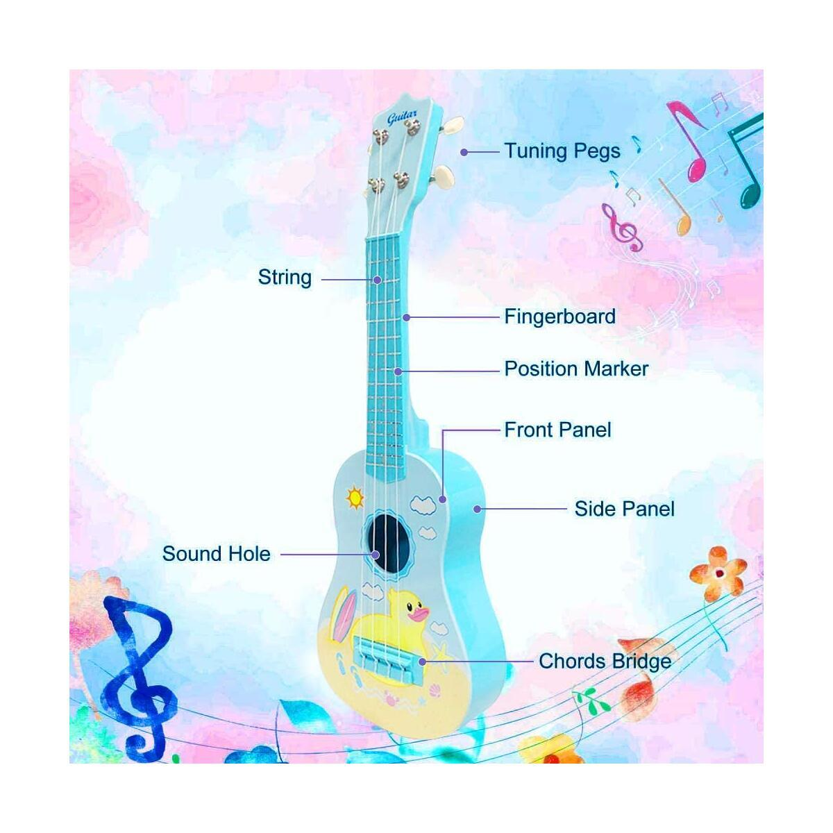 Musical Ukulele Guitar Toys 23 inches Blue Guitar with 4 Strings Musical Instruments Learning Educational Toys for Kids Children Adult Children