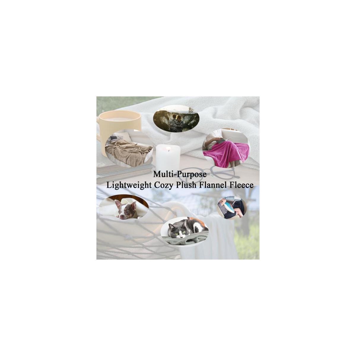 Flannel Fleece Silky Soft Throw Shaggy Blanket Lightweight Comfy and Cozy Plush Microfiber Travel Silk 50