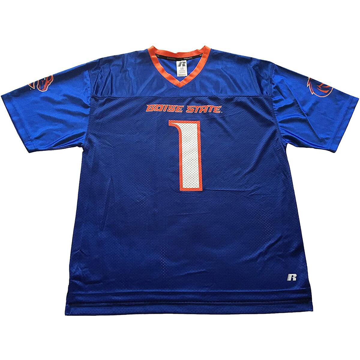 Russel Boise State Broncos Short Sleeve Mesh Fan Jersey #1 Blue and Orange (Large, Blue No Name)