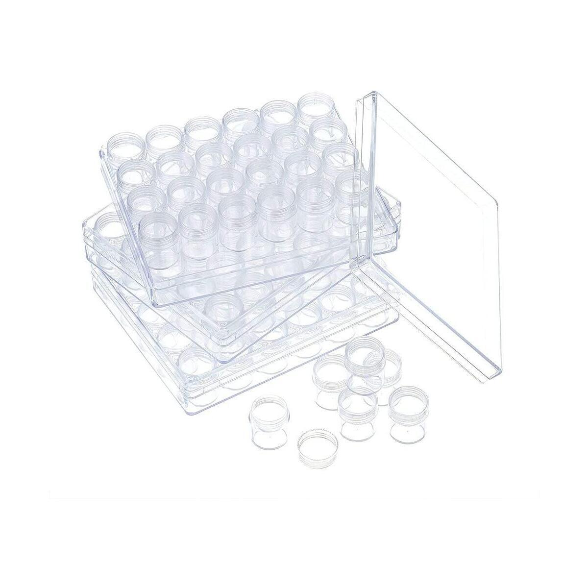 A&C Minimart Bead Storage Container System: Includes Screw-Top Canisters – for Diamond, Nail Art Supplies, Rhinestones, Jewelry & Other Small Items