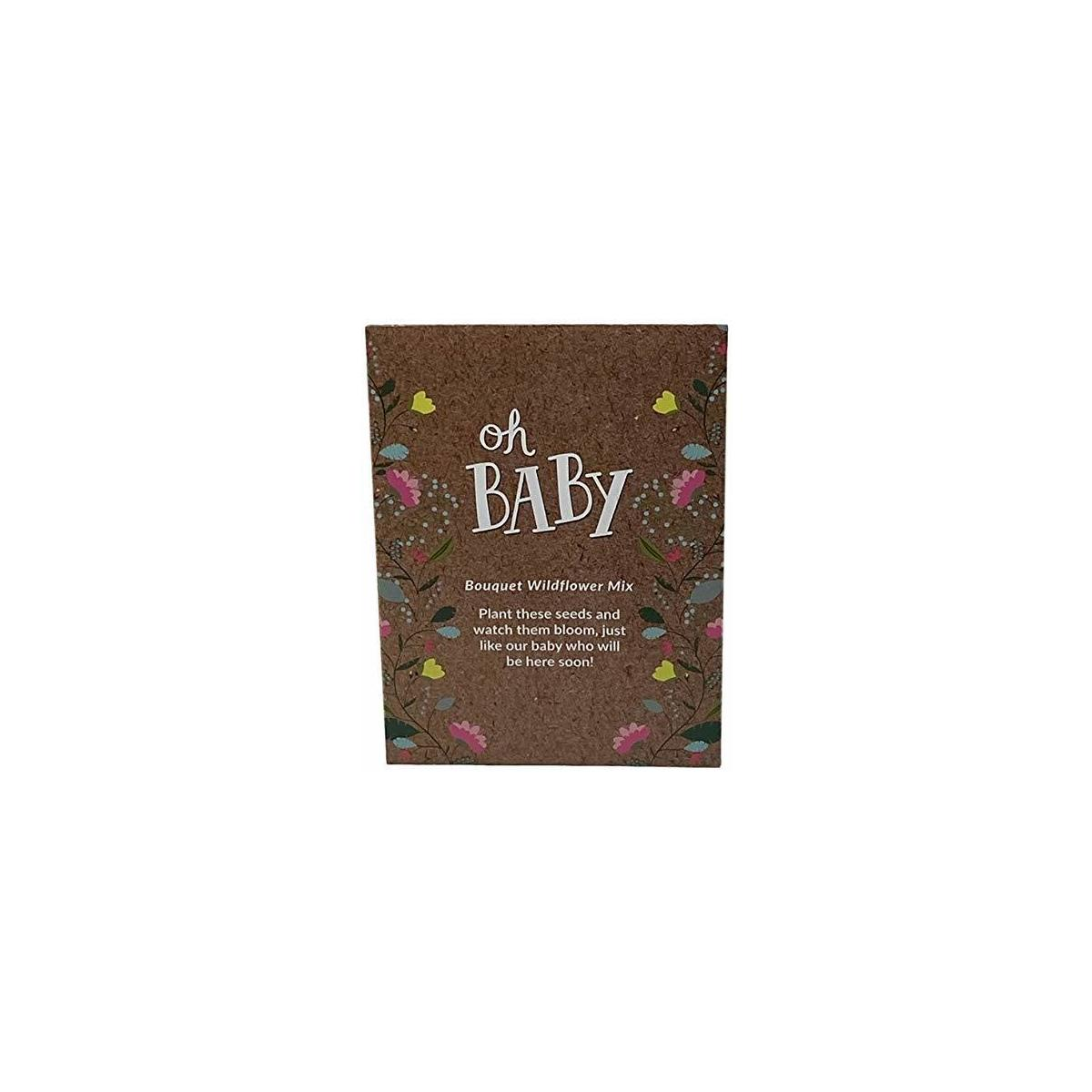Baby Shower Party Favors for Guests - Oh Baby Bouquet Wildflower Mix 20 Seed Packets + 20 Diaper Raffle Tickets for Girls or Boys