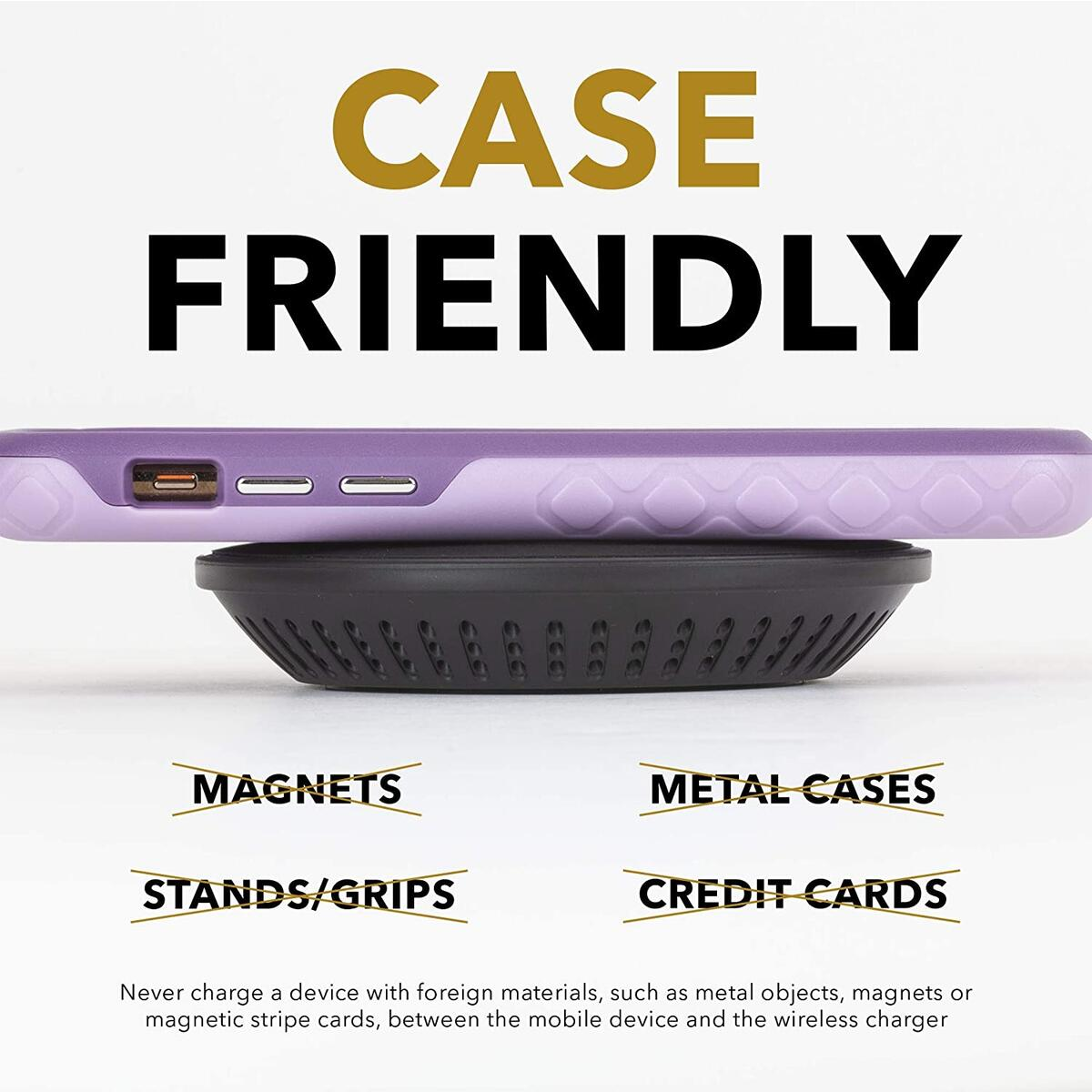 cellhelmet Qi Certified Wireless Charger - Fast Charging (10W / 7.5W / 5W) w AC Adapter | As Seen on Shark Tank - Retail Package