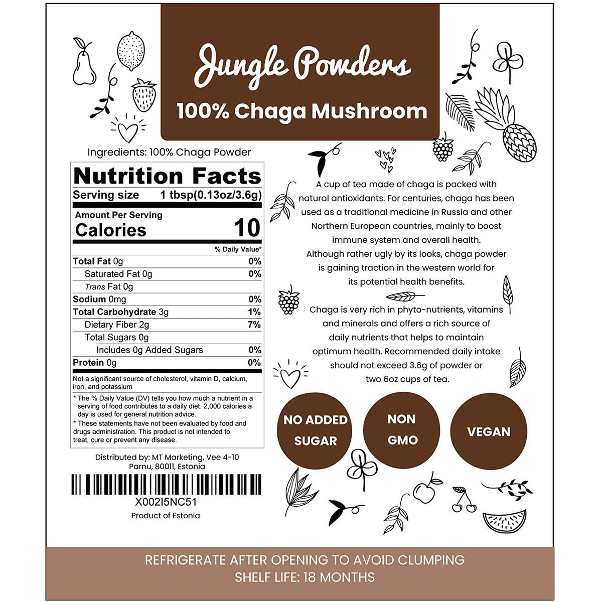 Jungle Powders Chaga Mushroom Powder 6oz of Pure Nordic Forest Chaga Tea Extract | Natural Wild Harvested Digesting and Immune System Booster