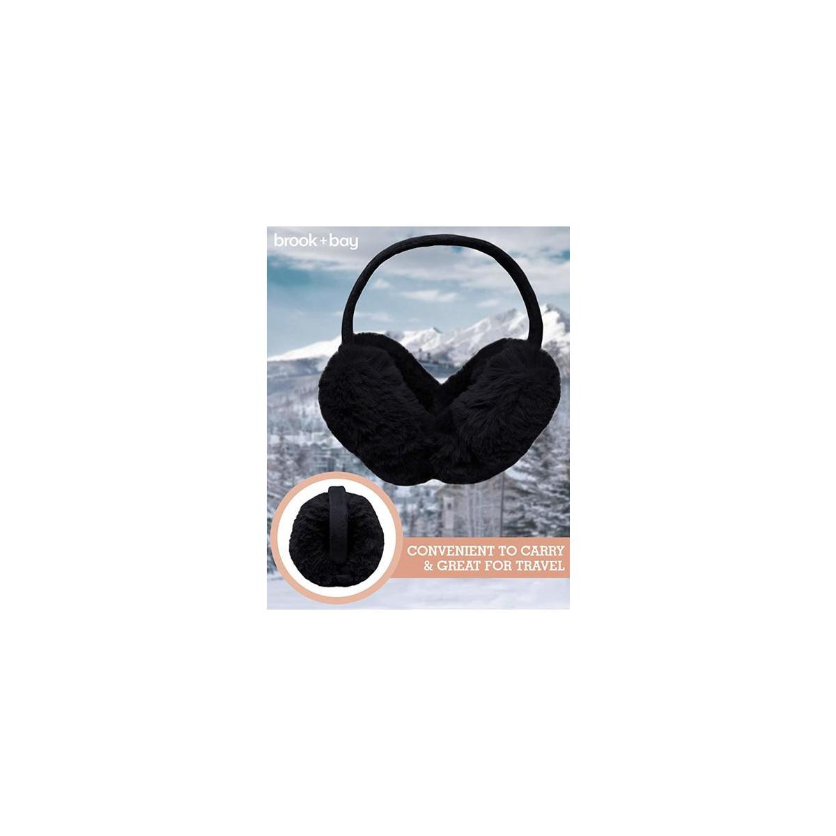 Womens Ear Muffs - Winter Ear Warmers/Covers - Cable Knit Furry Fleece Earmuffs for Cold Weather [promo applicable to BLACK FUR VARIANT ONLY]]