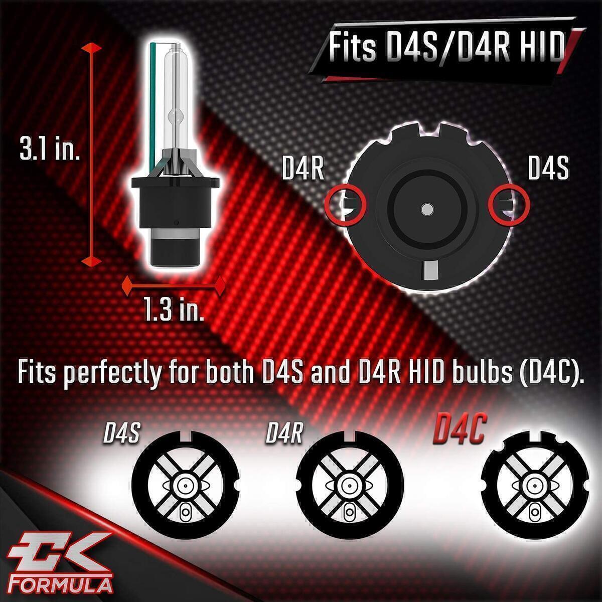CK Formula D4C/D4R/D4S HID Headlight Bulb - 6000K Super White, 12V 35W, Xenon for Direct Factory Automotive OEM Head Light Replacement IP68 Waterproof (Set of 2)