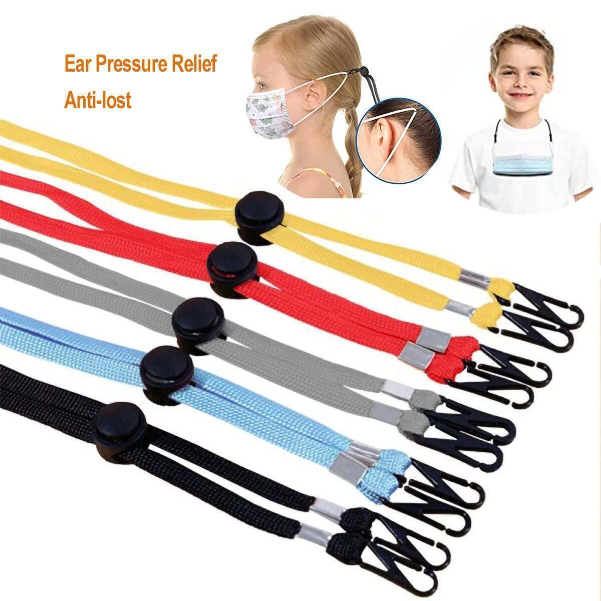 10-Pack Face Mask Lanyards -  Ear Pressure Relief Lanyards, Adjustable Anti-lost Mask Lanyard Strap to Protect Ears - 10 Colors