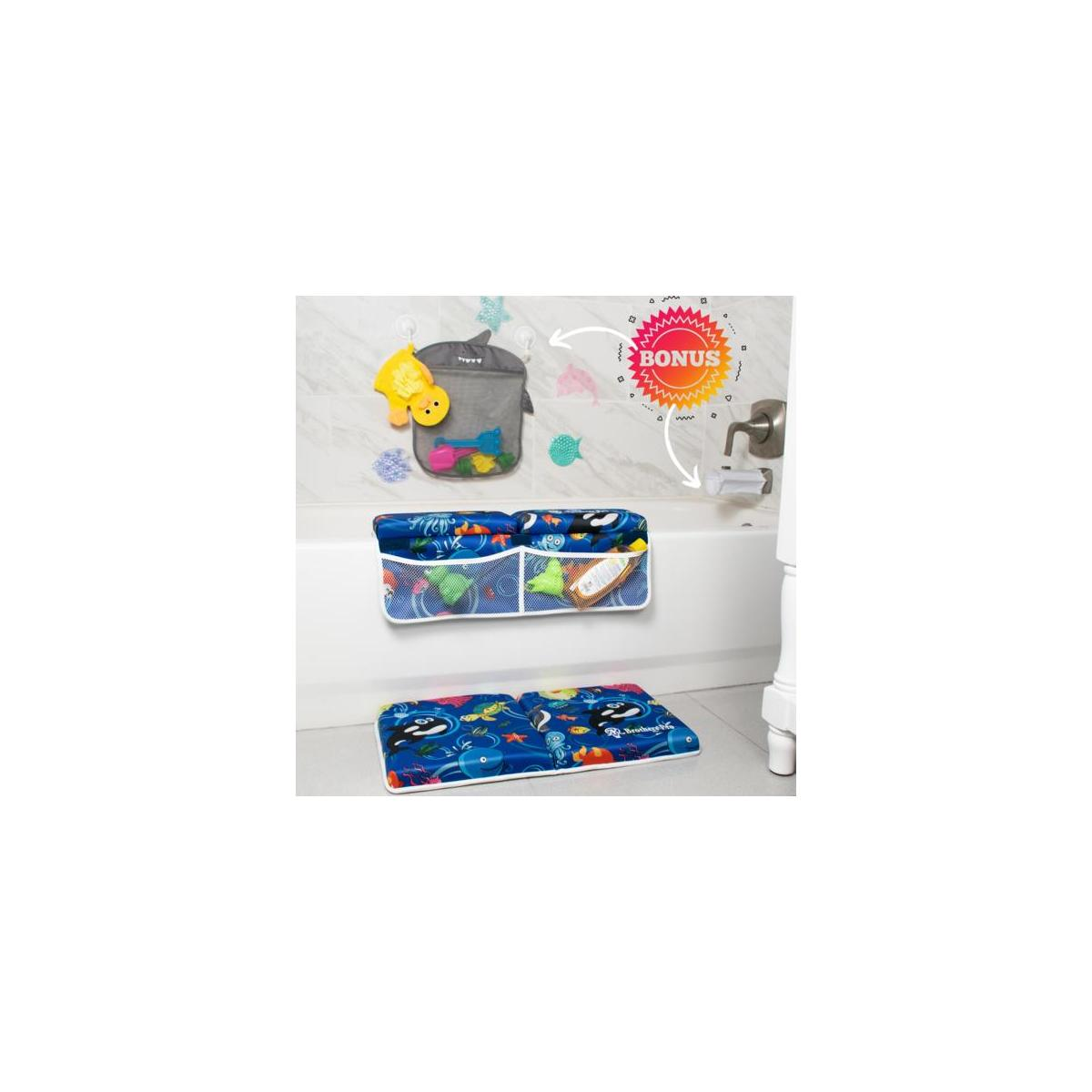 Baby Bath Kneeler & Elbow Rest Set with Free Inflatable Spout Cover, Shark Shaped Mesh Toys Organizer, Decorative Tub Mats, Duck Bath Glove in Tote Bag. Cute baby shower gift for Boys and Girls