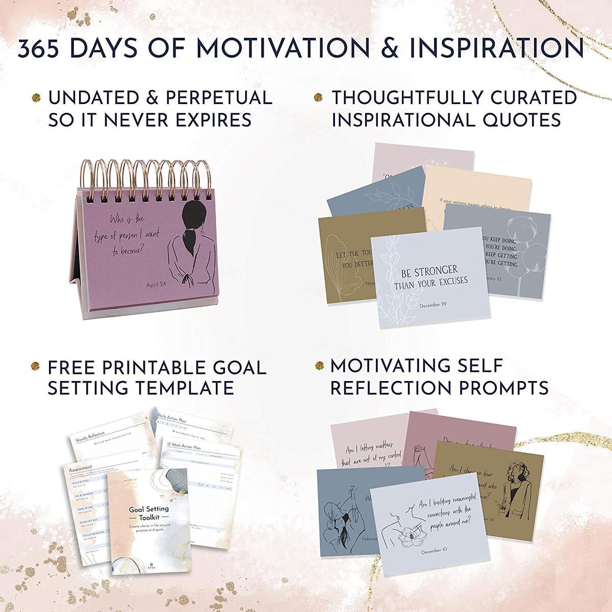 Motivational Calendar - Daily Flip Calendar with Inspirational Quotes - Inspirational Calendar, Motivational Quotes, Inspirational Desk Decor for Women, Inspirational Office Decor for Women Desk, Inspirational Gifts for Women, Motivational Gifts for Women