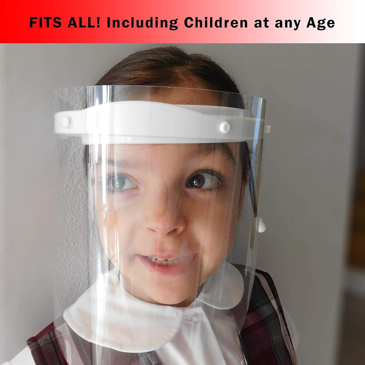 Safety Face Shields | Adjustable Protective Shield | Anti Fog | Includes 1 frame + 2 reusable Films (White)