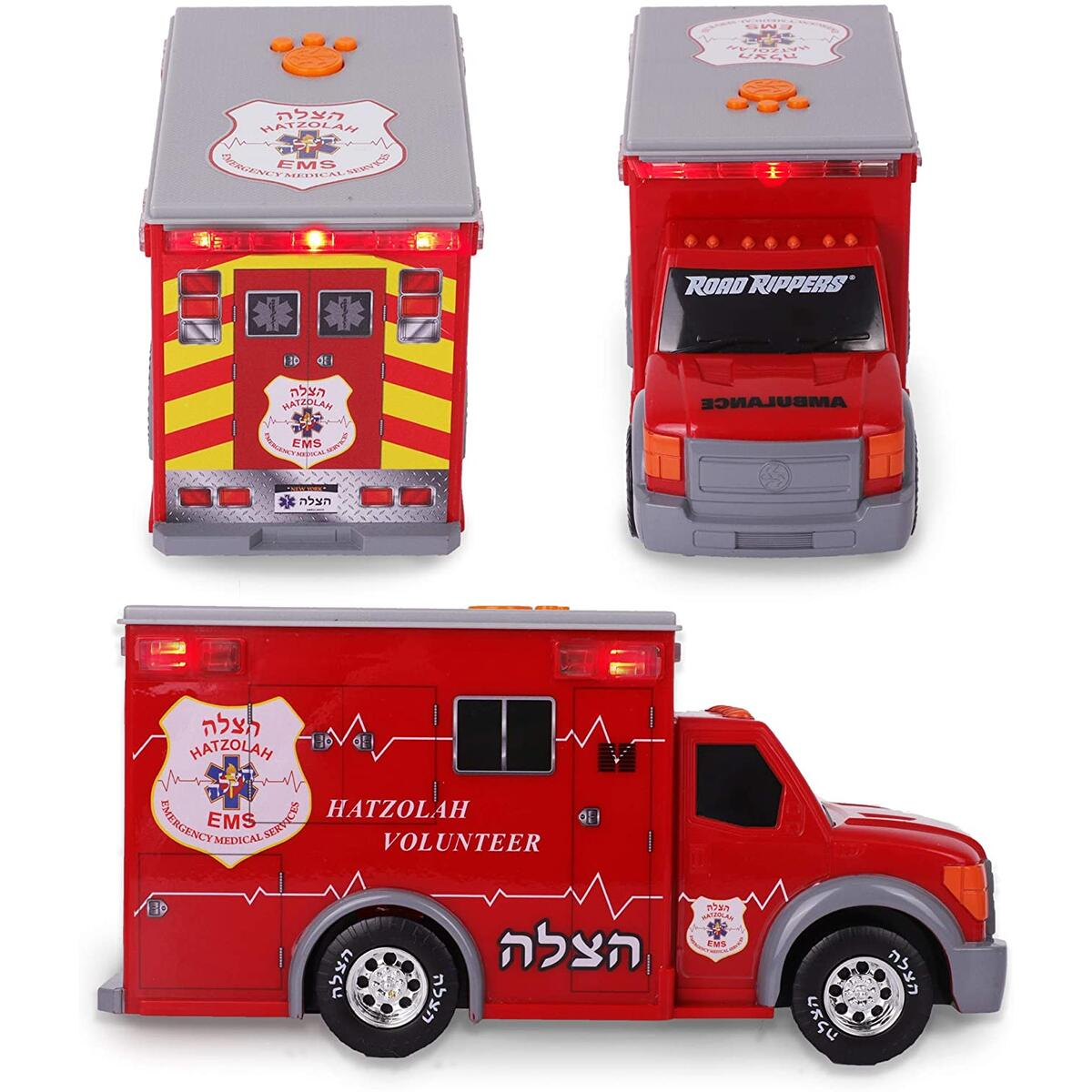 Hatzolah Volunteer EMS Ambulance, Emergency Motorized Toy Truck for Kids. Strong Quality Features Lights, Sirens, and Much More!