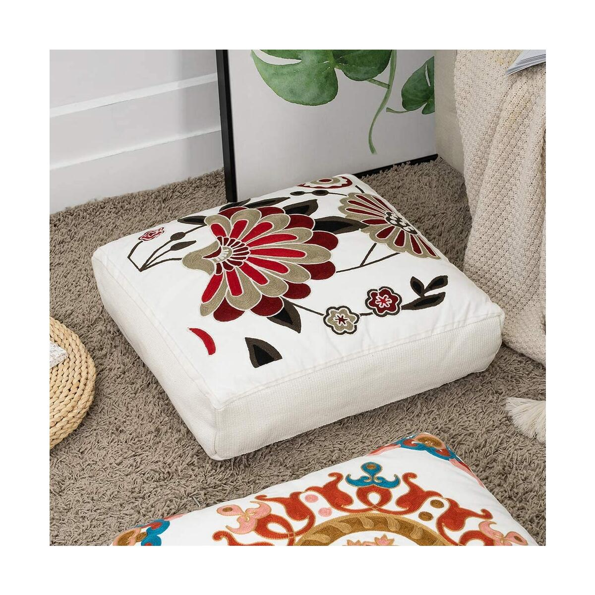 「ALL COLOR AVAILABLE」Large Floral Embroidery Floor Pillow Cushion, 20x20 Inches
