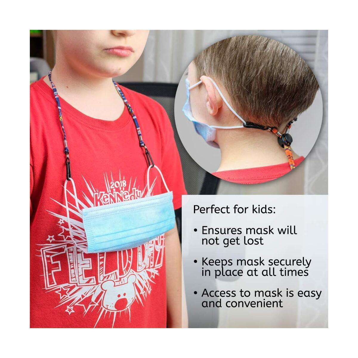 Globi Mask Lanyard For Kids/Adults | Adjustable Unisex Face Mask/Glasses Holder With Clips | Mask/Glasses Strap For Boys Girls Men Women