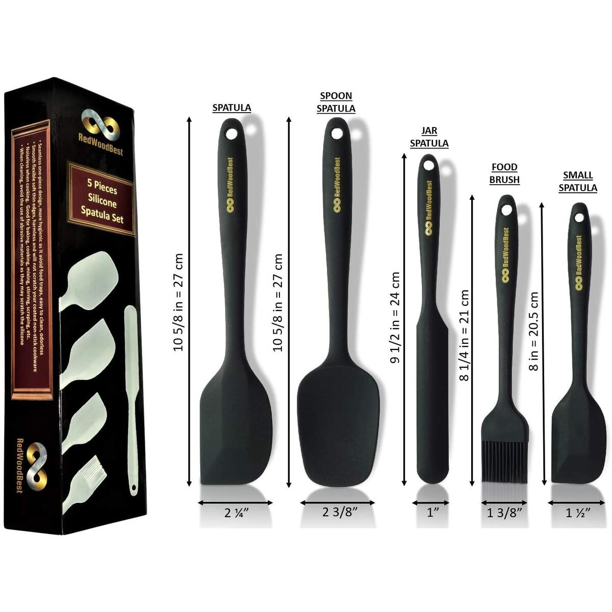 RedWoodBest Heat Resistant Silicone Spatula 5 Set Created for Cooking, Baking and Mixing, One Piece Design, Non-Stick, Strong Stainless Steel Core (Black)