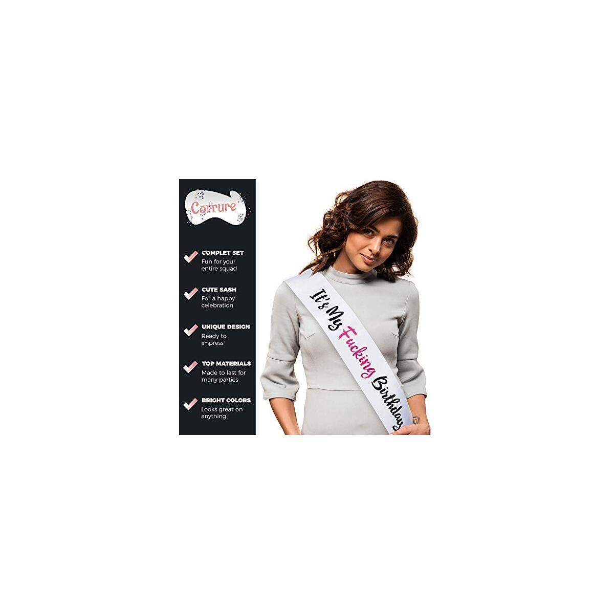 CORRURE 27pcs Birthday Sash, Buttons and Tattoos Set - Complete Pink Birthday Kit for The Most Amazing Party with Your Squad - Party Favors Supplies for Your 21st, 25th, 30th or Any Other Bday…