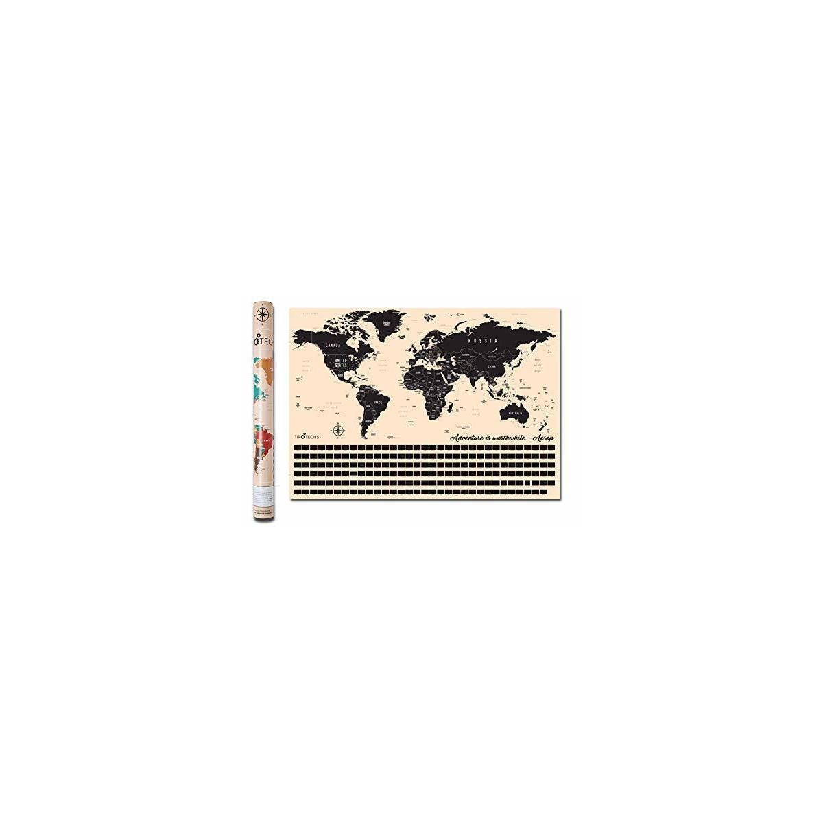 TIROTECHS Scratch Off Map - New Scratch Off World Map -Best Scratch Off Map of The World - Scratch Map - World Map Scratch Off Travel Map