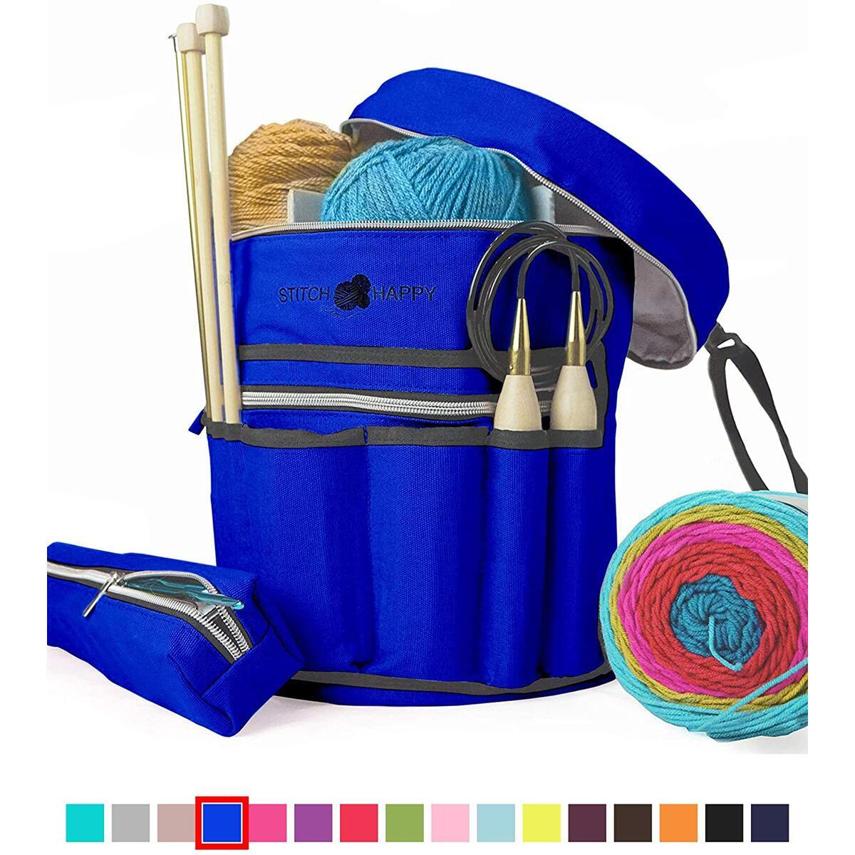 Stitch Happy Knitting Bag (Cobalt): 7 Pocket Yarn Bag, Crochet Bag for Yarn Storage, Crochet Storage