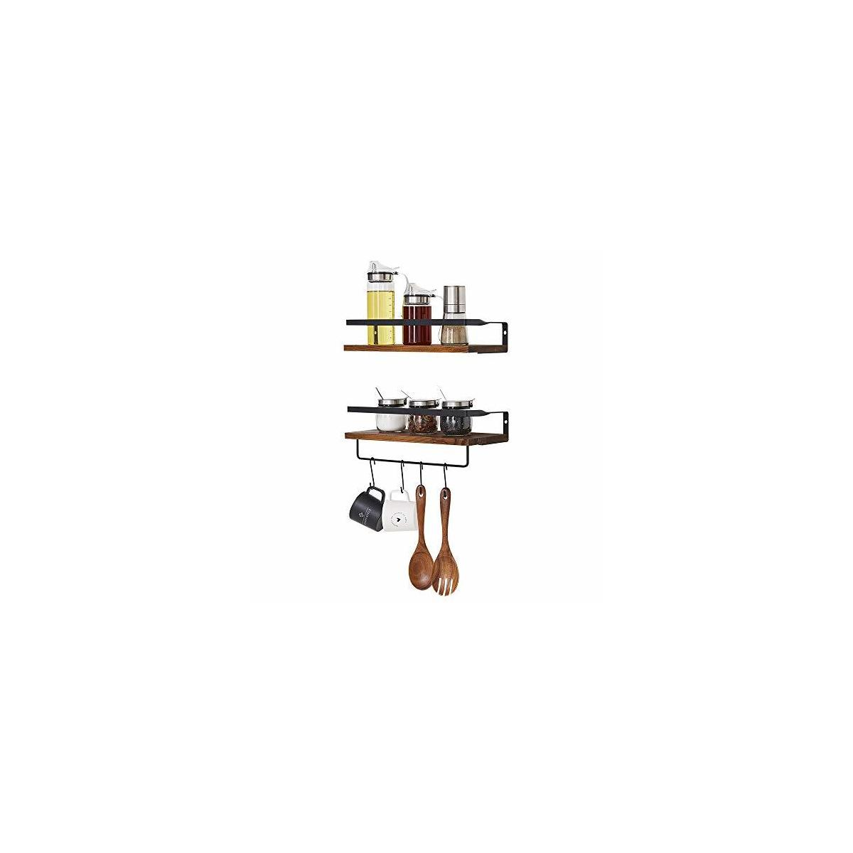 4 in 1 Rustic Wood Wall Mounted Floating Shelves Storage Shelf with 2 Removable Hooks