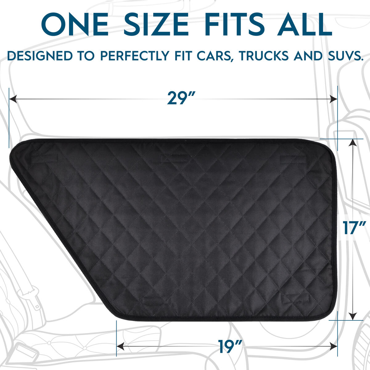 Zone Tech Car Door Pet Barrier - Black Premium Quality Heavy Duty Waterproof, Scratchproof Side Barrier Dog Pet Vehicle Interior Door Cover- Universal Size Fits Cars, Trucks & SUVs (1 Right &1 Left)