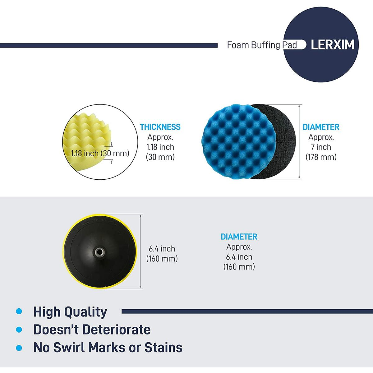 LERXIM Buffing Pads Polishing Pad Kit 7 Inch - with 5 X 7 inch Foam Pads, 1 X Backet Plate with Drill Adapter and 1 X Wool Pad. Car Polishing Pad Kit for car waxing