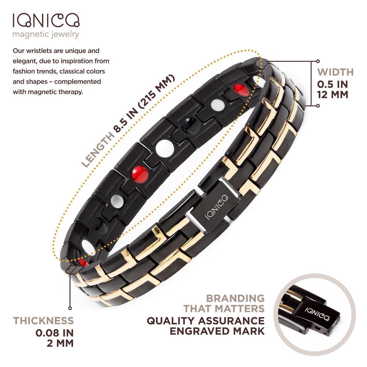 IONICO Stylish Magnetic Therapy Bracelet for Men and Women Health Improvement | Reliefs Arthritis, Carpal Tunnel, migraine, Headache Pain, Blood Pressure | Strong Energy Healing Power (Black-Gold)