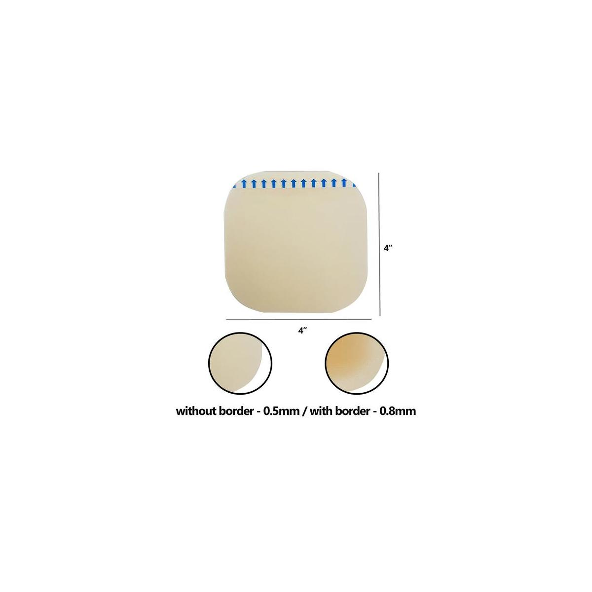 [Pack of 10] 2x2 inches Thin Hydrocolloid Dressing Without Adhesive Border – Hydrocolloidal Bandage - Bed Sore Wound Care Pads with CGF for Advanced Healing