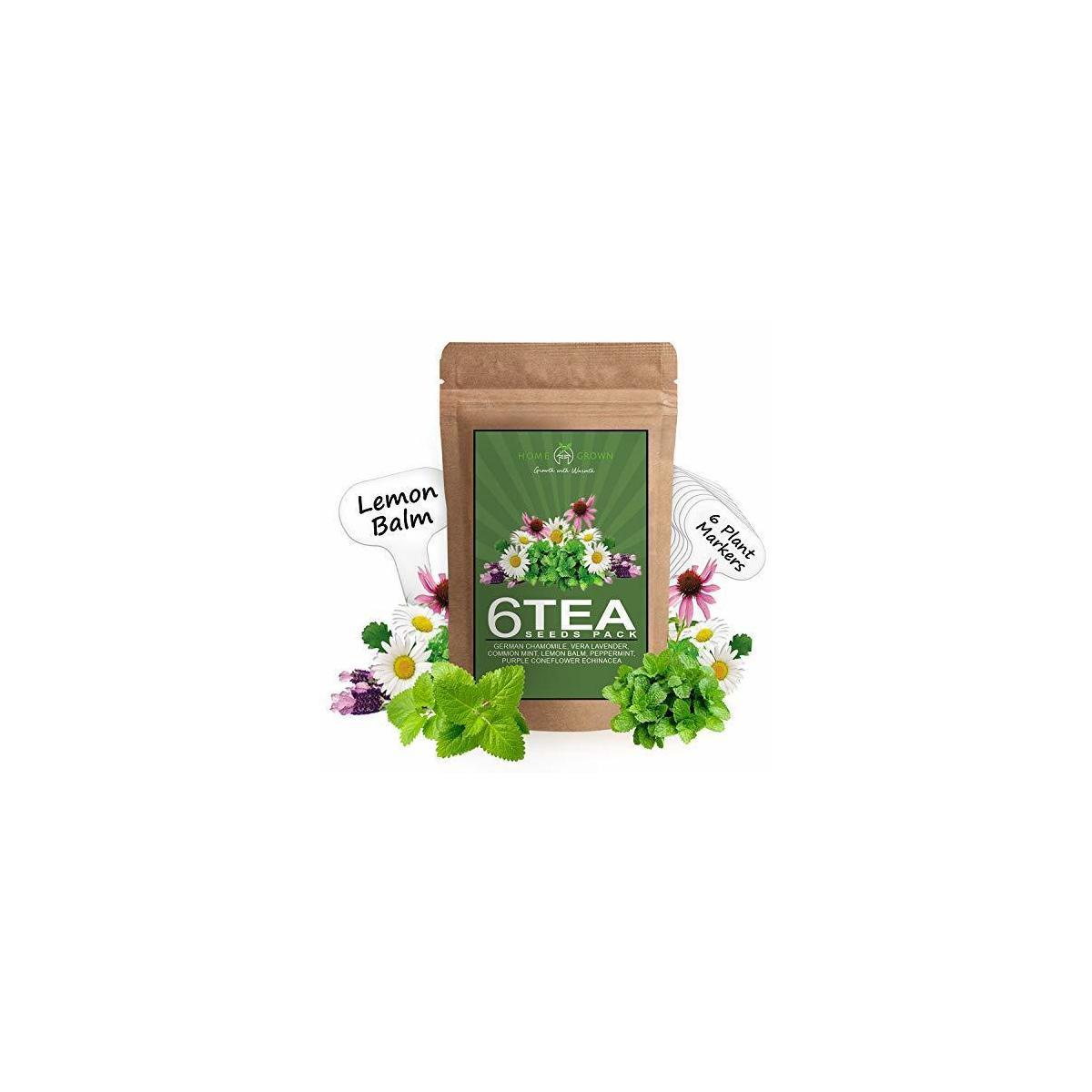 6 Tea Herb Seeds Pack - Herbal and Medicinal Tea Seeds for Planting