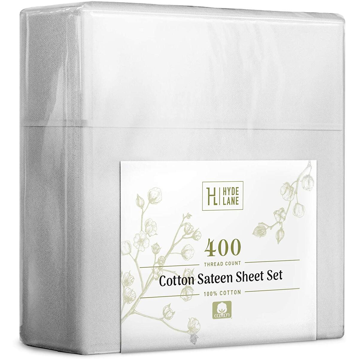 """Hyde Lane 400TC Sateen Cotton Queen Sheet Set White